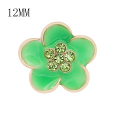 12MM snap gold Plated Flowers Green enamel charms KS7148-S snaps jewerly