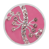 20MM snap silver Plated  rhinestones with Pink enamel charms KC8110 snaps jewerly