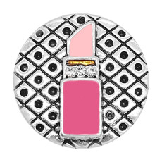 20MM Snap versilberter Lippenstift Emaille Charms KC8113 schnappt edel