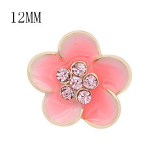 12MM snap gold Plated Flowers Pink enamel charms KS7145-S snaps jewerly