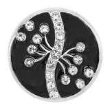 20MM snap silver Plated rhinestones with Black enamel charms KC8109 snaps jewerly