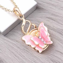 20MM snap gold Plated Butterfly Pink enamel charms KC8119 snaps jewerly