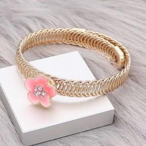 12MM каучуковые позолоченные цветы Розовые эмалевые брелоки KS7145-S украшают украшения
