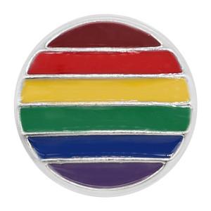 20MM оснастка посеребренная Радуга Многоцветная эмаль подвески KC8112 Многоцветная
