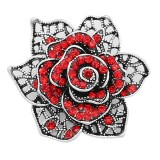 20MM snap Silver Plated Flowers With Red rhinestones charms KC8128 snaps jewerly