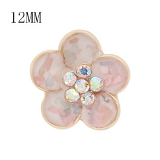 12MM snap gold Plated shell Flowers enamel with shell charms KS7144-S snaps jewerly