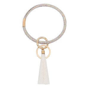 With colorful rhinestones Big ring bangle Key Ring Key Chain tassel bracel
