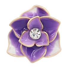 20MM snap gold Plated  Flowers purple enamel with With rhinestones KC8121 snaps jewerly