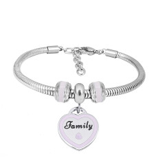 Stainless steel Charm Bracelet with Pink family 3 charms completed cartoon