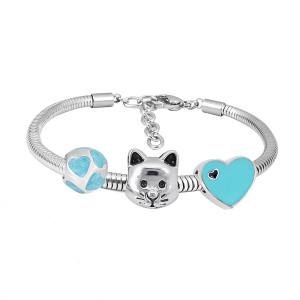 Bracelet à breloques en acier inoxydable avec charmes 3 pour chat bleu