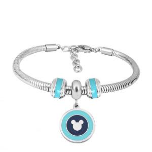 Bracelet à breloques en acier inoxydable avec breloques 3 bleues