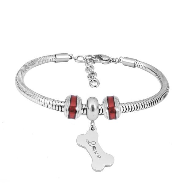 Bracelet à breloques en acier inoxydable avec charmes en os de chien rouge 3 terminé