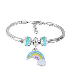 Bracelet à breloques en acier inoxydable avec 3 arc-en-ciel bleu complet dessin animé