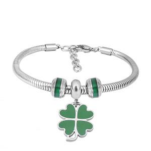 Bracelet à breloques en acier inoxydable avec 3 breloques vertes dessin animé