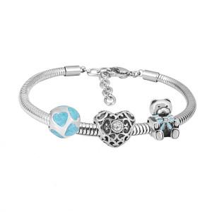 Bracelet à breloques en acier inoxydable avec dessin de charmes 3 ours bleu