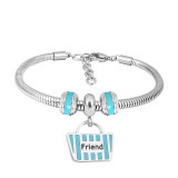 Stainless steel Charm Bracelet with Blue family 3 charms completed cartoon