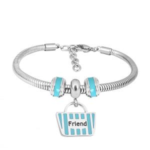 Bracelet à breloques en acier inoxydable avec caricatures de la famille 3 de la famille bleue