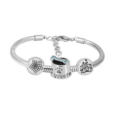 Stainless steel Charm Bracelet with blue dog 3 charms completed cartoon