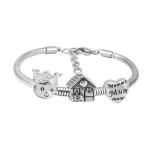 Bracelet à breloques en acier inoxydable avec charmes de la famille 3 terminé