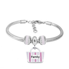 Stainless steel Charm Bracelet withPink family 3 charms completed cartoon