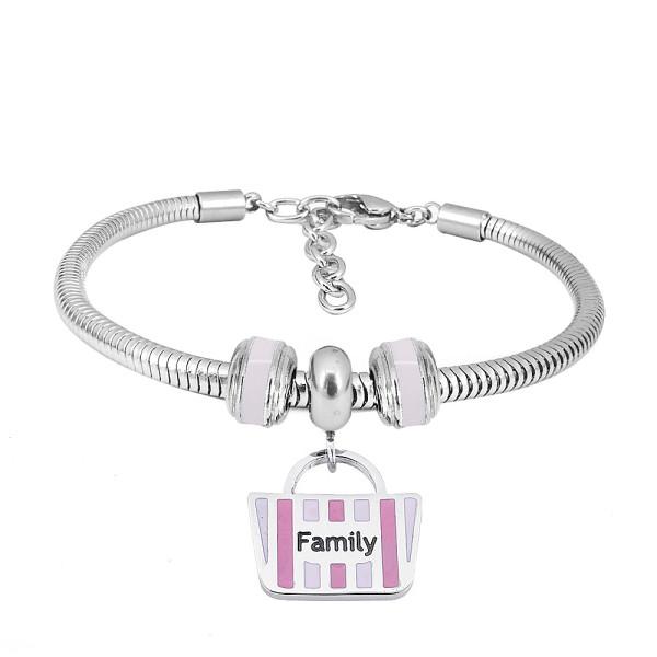 Bracelet à breloques en acier inoxydable avec la famille de roses de 3 charmes complétés dessin animé