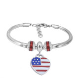 Stainless steel Charm Bracelet with Red flag 3 charms completed cartoon