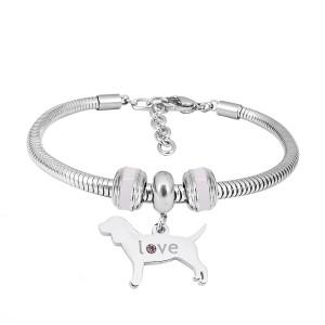 Bracelet à breloques en acier inoxydable avec charmes de chien 3 terminé