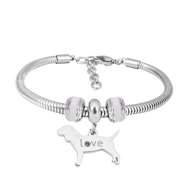 Stainless steel Charm Bracelet with dog 3 charms completed cartoon