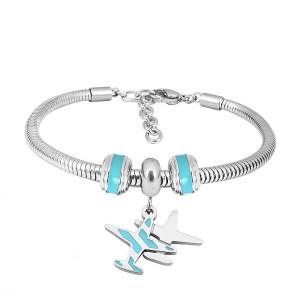 Bracelet à breloques en acier inoxydable avec avion bleu 3 breloques achevées