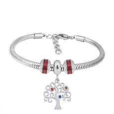 Stainless steel Charm Bracelet with Red Life Tree 3 charms completed cartoon