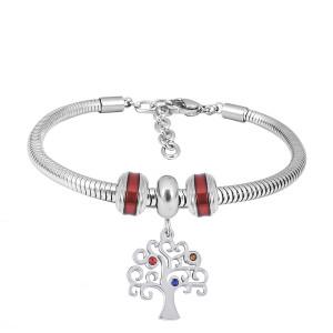 Bracelet à breloques en acier inoxydable avec des charmes 3 de Life Tree rouge complet