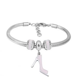Bracelet à breloques en acier inoxydable avec talons hauts roses