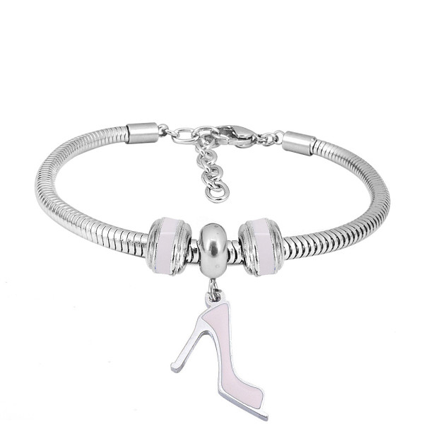 Stainless steel Charm Bracelet with Pink high heels 3 charms completed cartoon