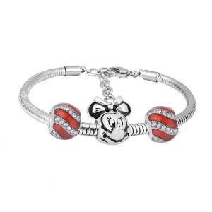 Bracelet à breloques en acier inoxydable avec breloques 3 rouges achevé