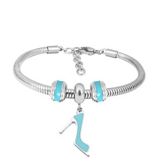Stainless steel Charm Bracelet with Blue high-heeled shoes 3 charms completed cartoon