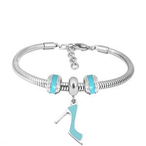 Bracelet à breloques en acier inoxydable avec chaussures à talons hauts bleu