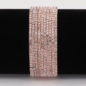 10 pcs / lot Rhinestones Sparkling Elastic Pulsera con diamantes de imitación de color naranja pálido 80pcs