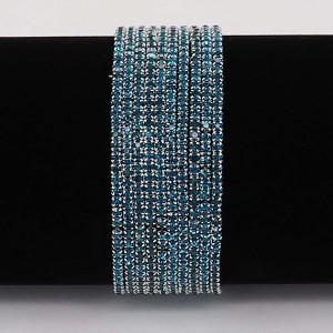 10 шт. / Лот Стразы Игристые Эластичный браслет с 80pcs Голубые стразы