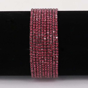10 pcs/ lot Rhinestones Sparkling  Elastic  Bracelet with 80pcs Rose rhinestones