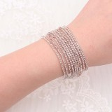 10 pcs/ lot Rhinestones Sparkling  Elastic Bracelet with 80pcs Pale orange rhinestones