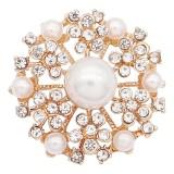 20MM flores chapadas en oro con encantos de perlas blancas KC8134 se ajusta a presión