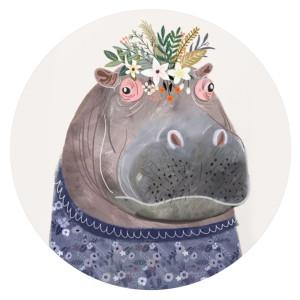 20MM Hippo en métal peint émail peint C5935 s'encliquette bijoux