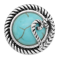 20MM Love snap silver Plated Cyan turquoise inlaid charms KC8135 Cyan