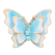 20MM snap gold Plated Butterfly Light Blue enamel charms KC8118 snaps jewerly