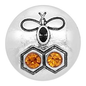 20MM Little bee snap silver Chapado con dijes de pedrería naranja KC8131 se ajusta a presión