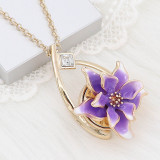 20MM snap gold Plated Flowers purple enamel charms KC8125 snaps jewerly