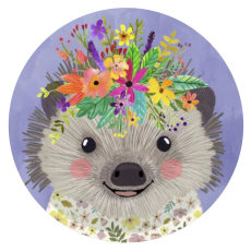 20MM Hedgehog Painted enamel metal C5938 print snaps jewelry