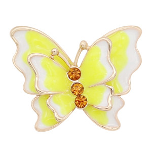 20MM Snap Gold Plated Butterfly Gelb Emaille Charms KC8117 Snaps Jewerly