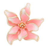 20MM snap gold Plated Flowers Pink enamel charms KC8126 snaps jewerly