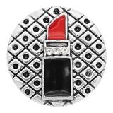 20MM rouge à lèvres plaqué argent avec breloques en émail KC8133 s'enclenche bijou